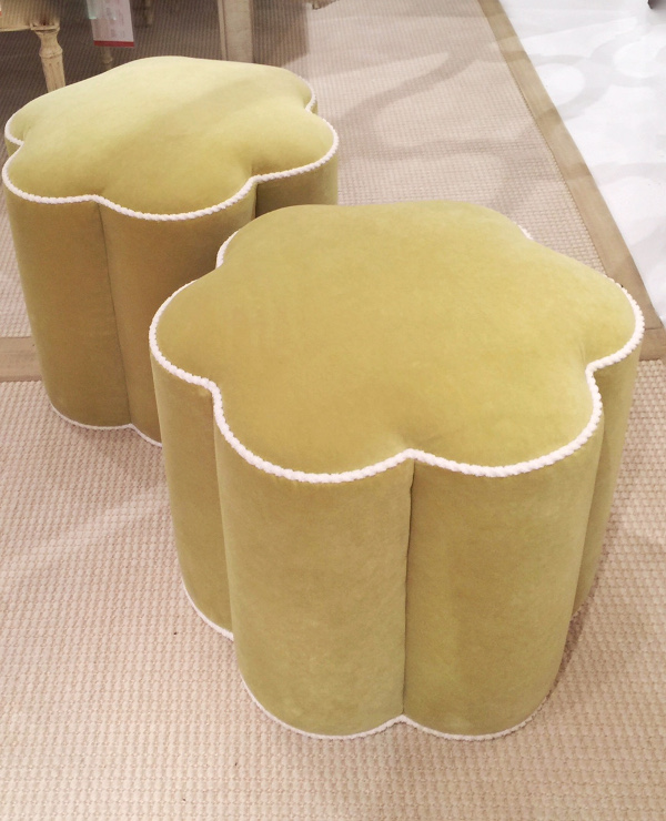 yellow green ottomans with contrast welt