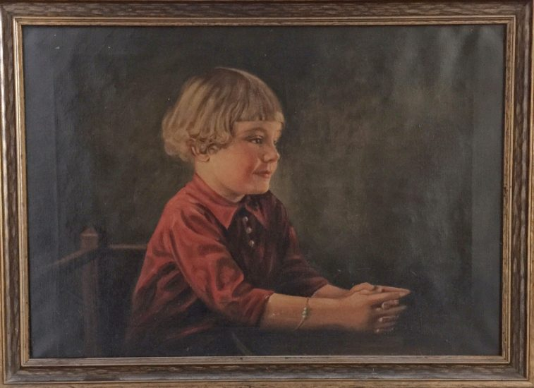 old world master style oil painting of little girl at desk.