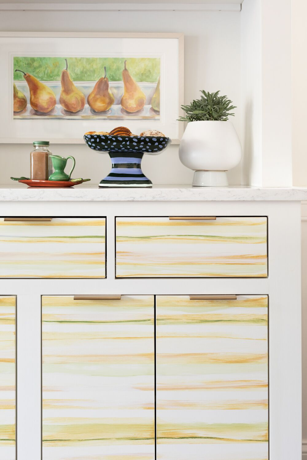 striped painting on pantry