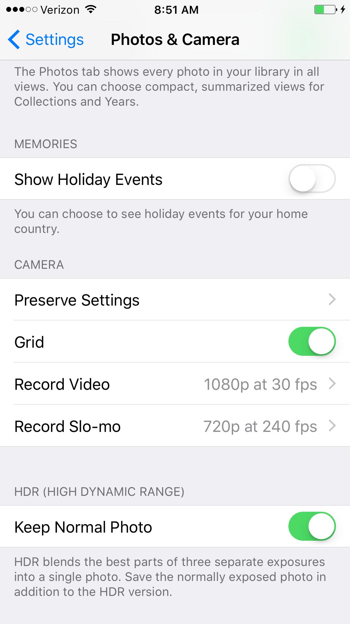 Camera and Photo screen in Settings