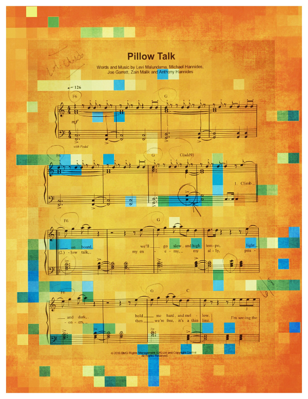 sheet music pixelated and colorized