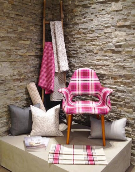 Fushia plaid chair at Boston Design center