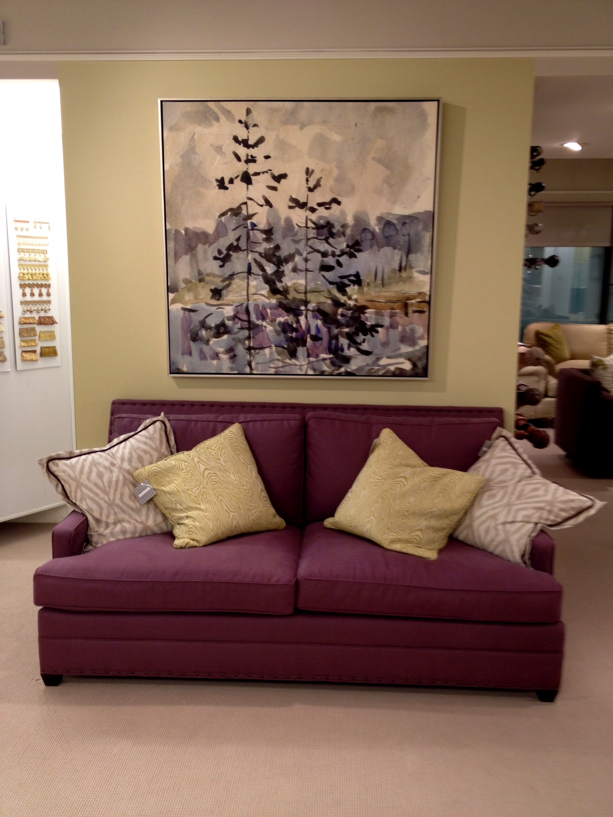 Kravet purple sofa