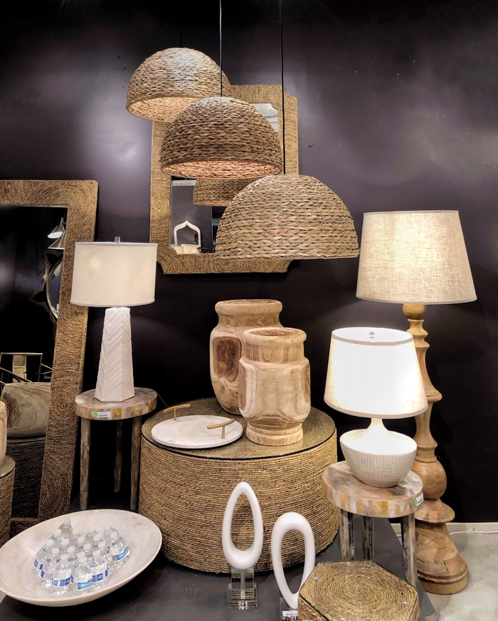 natural materials on lights and furniture