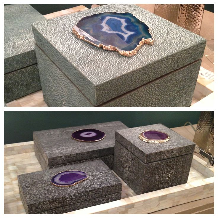 Shagreen and agate boxes