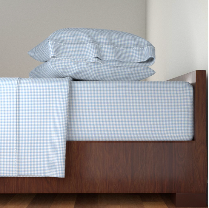 blue and white checked sheets