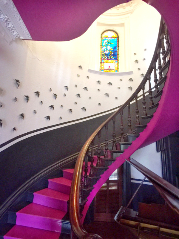Magenta entrance and staircase