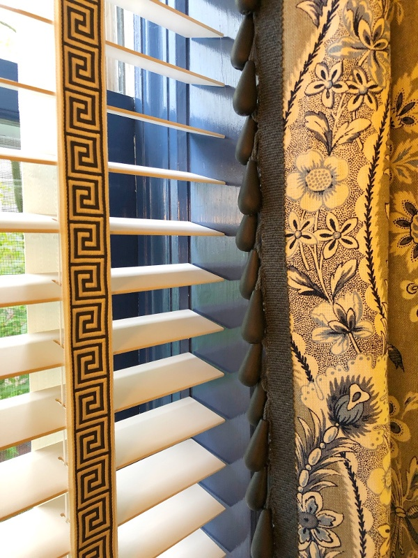 tape and trim on blinds and drape