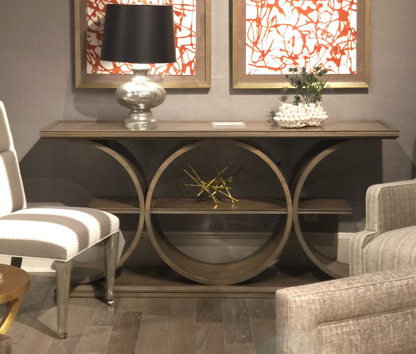 High Point Market Spring 2017. Taupe stained console table