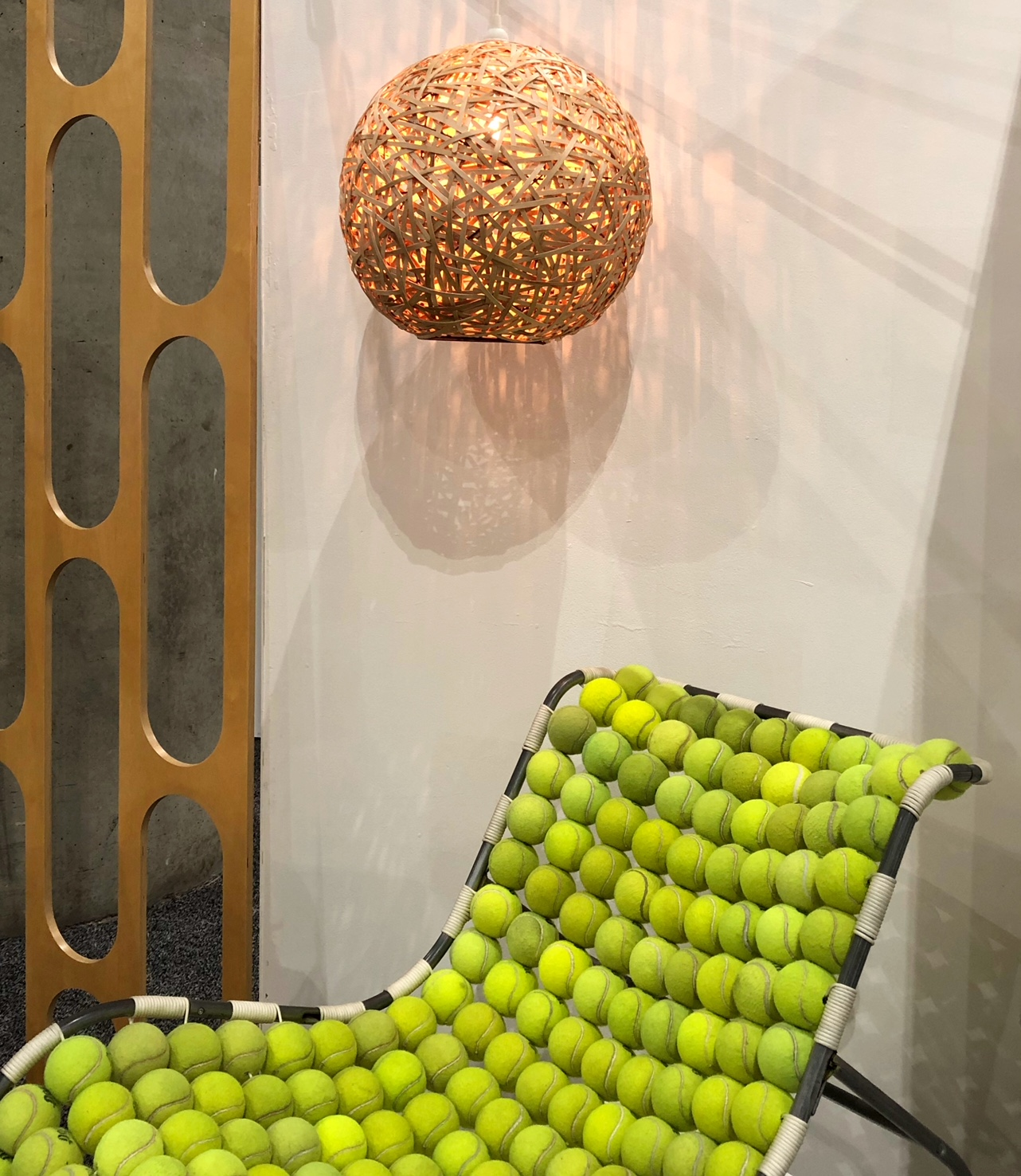 tennis ball chair and rubber band light
