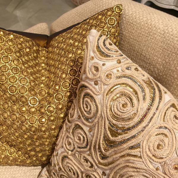 Gold metallic pillows