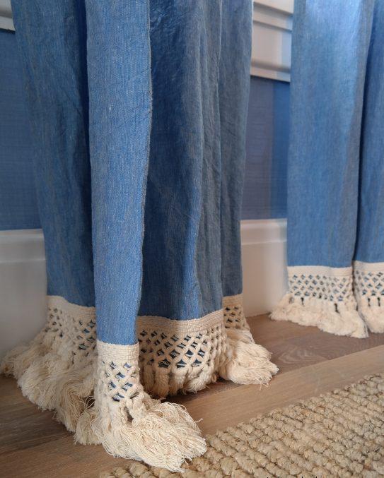 denim drapes with rope trim
