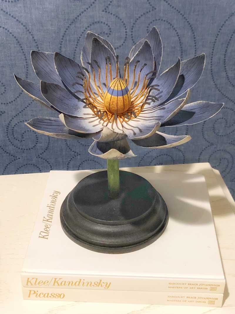 Blue metal water lily