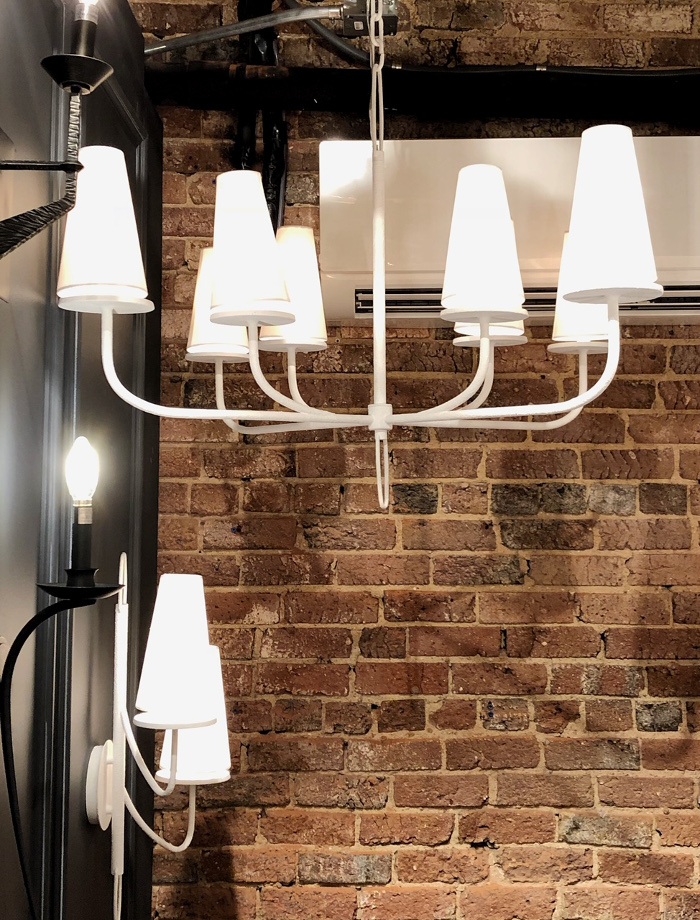white plaster chandelier