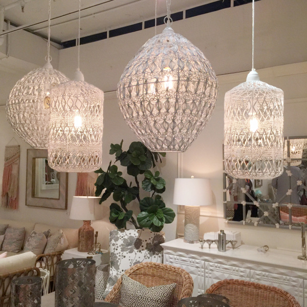 white wicker hanging pendants