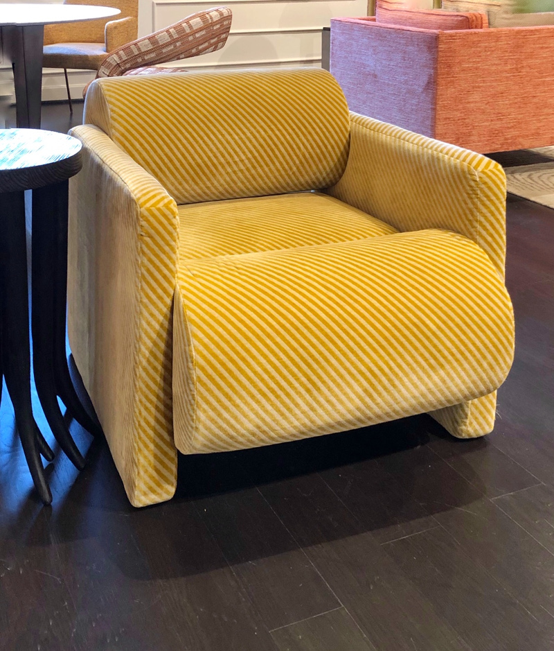 yellow leather chair from E.J. Victor